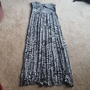 Animal print tube maxi dress